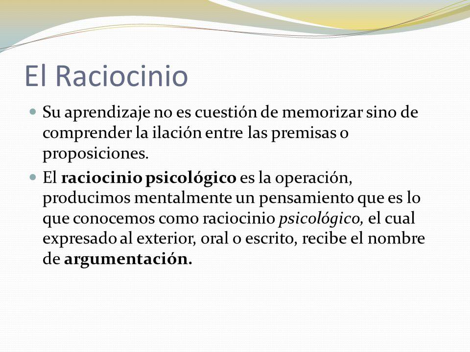 El Raciocinio Su aprendizaje no es cuestión de memorizar sino de comprender la ilación entre las premisas o proposiciones.