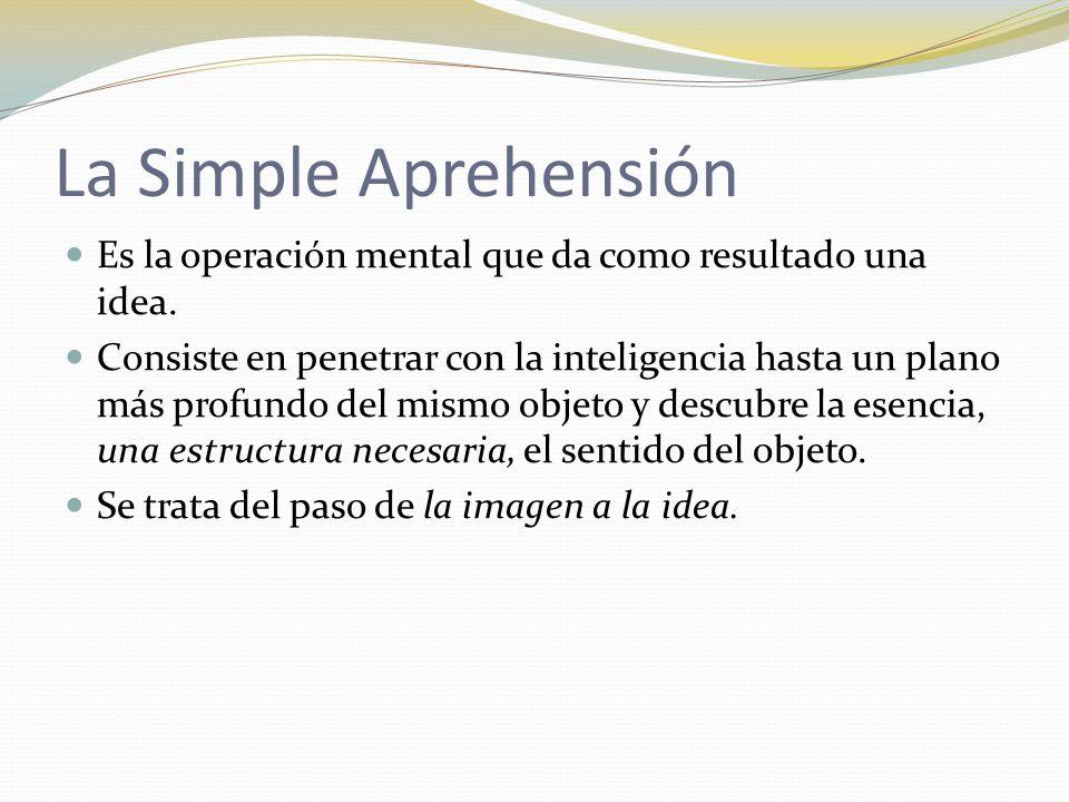 La Simple Aprehensión Es la operación mental que da como resultado una idea.