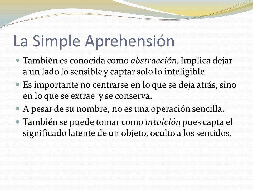 La Simple Aprehensión También es conocida como abstracción. Implica dejar a un lado lo sensible y captar solo lo inteligible.