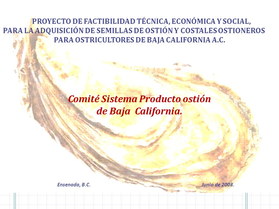 Comité Sistema Producto ostión de Baja California.