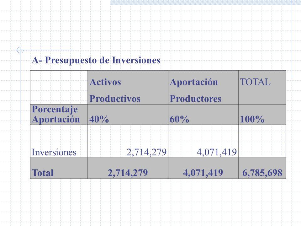A- Presupuesto de Inversiones Activos Aportación TOTAL Productivos