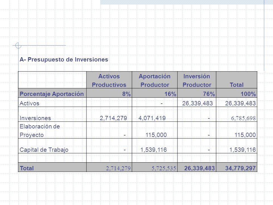 A- Presupuesto de Inversiones Activos Aportación Inversión Productivos