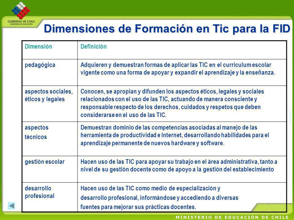 Dimensiones de Formación en Tic para la FID