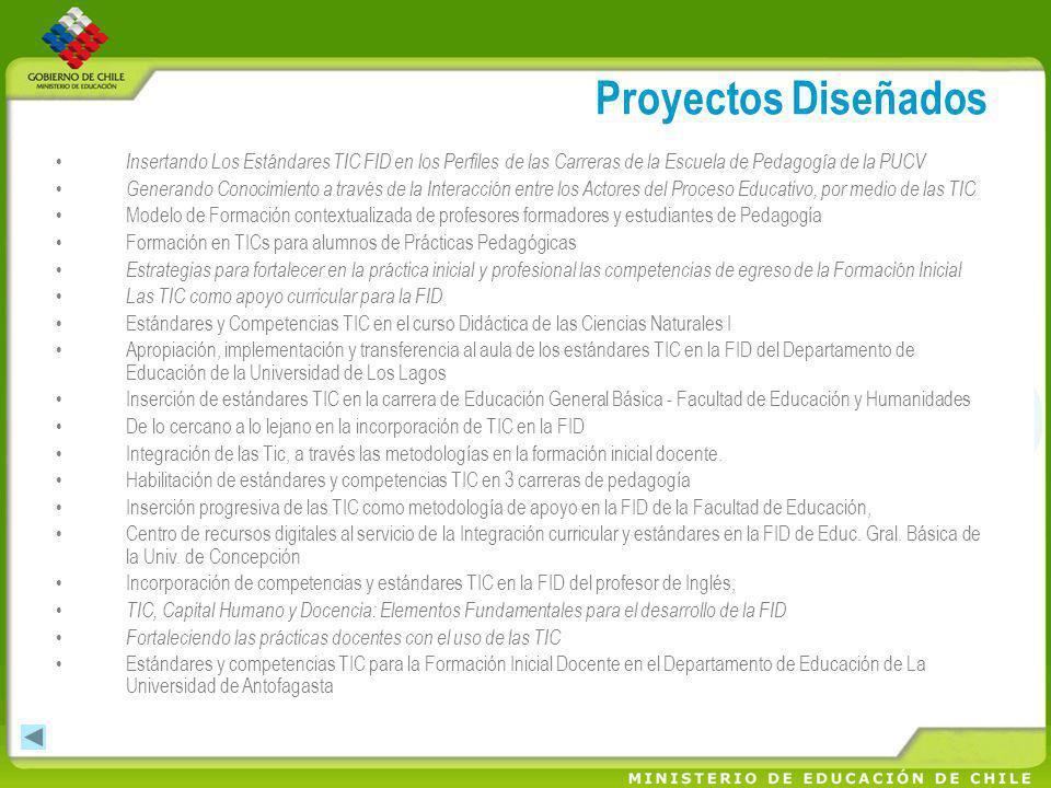 Proyectos Diseñados Insertando Los Estándares TIC FID en los Perfiles de las Carreras de la Escuela de Pedagogía de la PUCV.