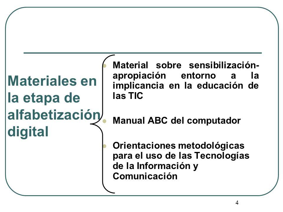 Materiales en la etapa de alfabetización digital