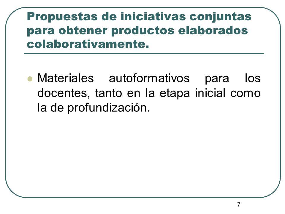 Propuestas de iniciativas conjuntas para obtener productos elaborados colaborativamente.