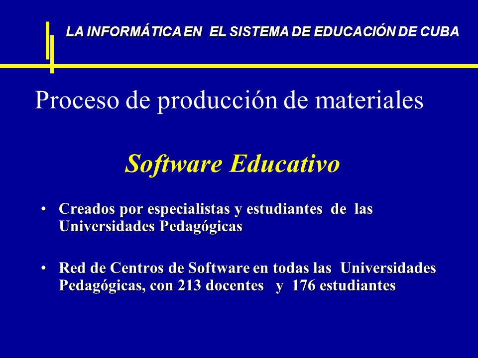 Proceso de producción de materiales Software Educativo