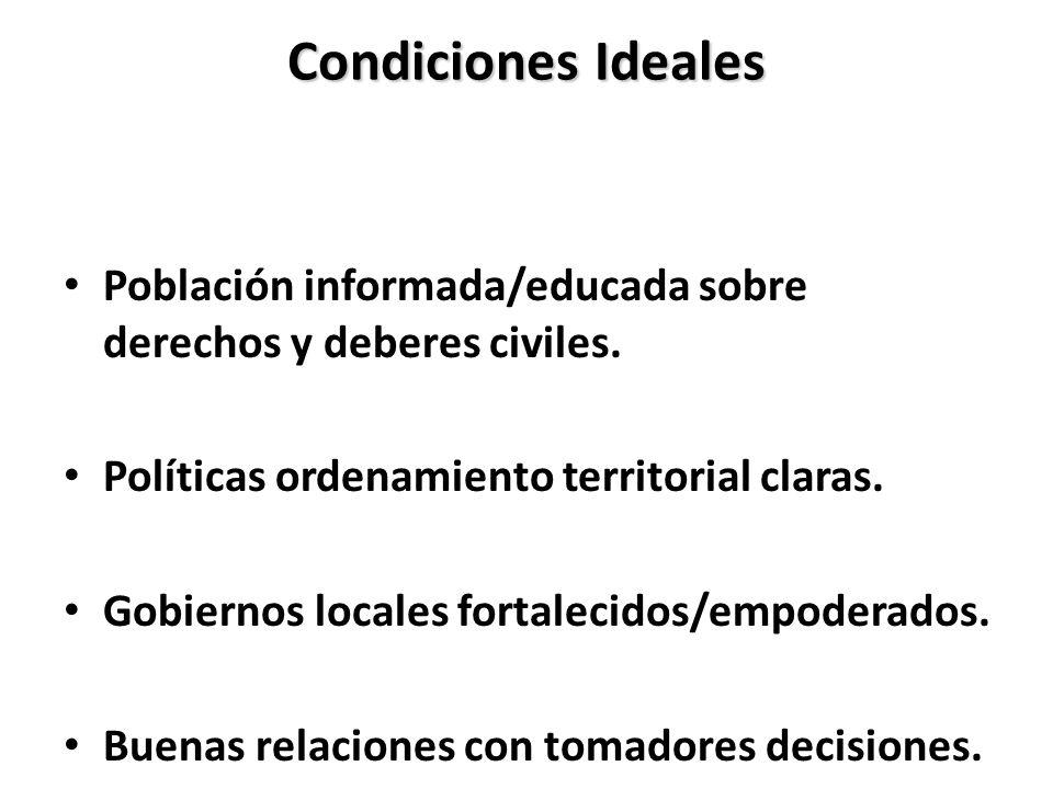 Condiciones Ideales Población informada/educada sobre derechos y deberes civiles. Políticas ordenamiento territorial claras.