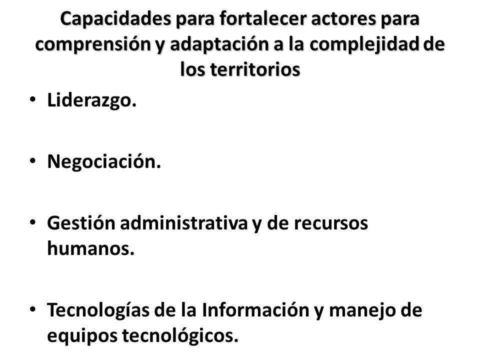 Capacidades para fortalecer actores para comprensión y adaptación a la complejidad de los territorios