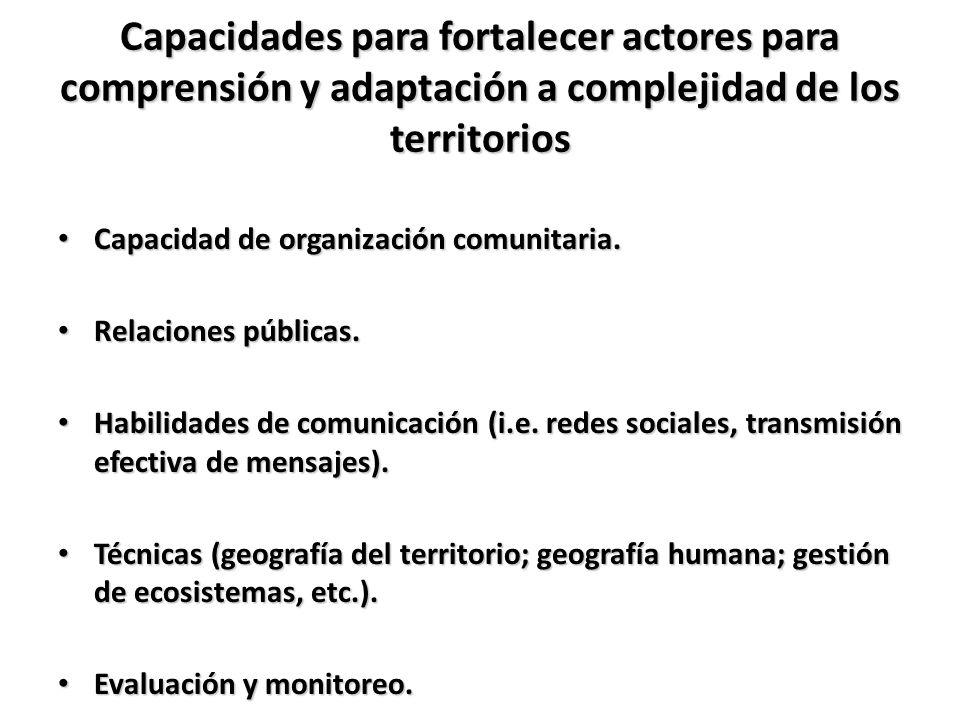 Capacidades para fortalecer actores para comprensión y adaptación a complejidad de los territorios