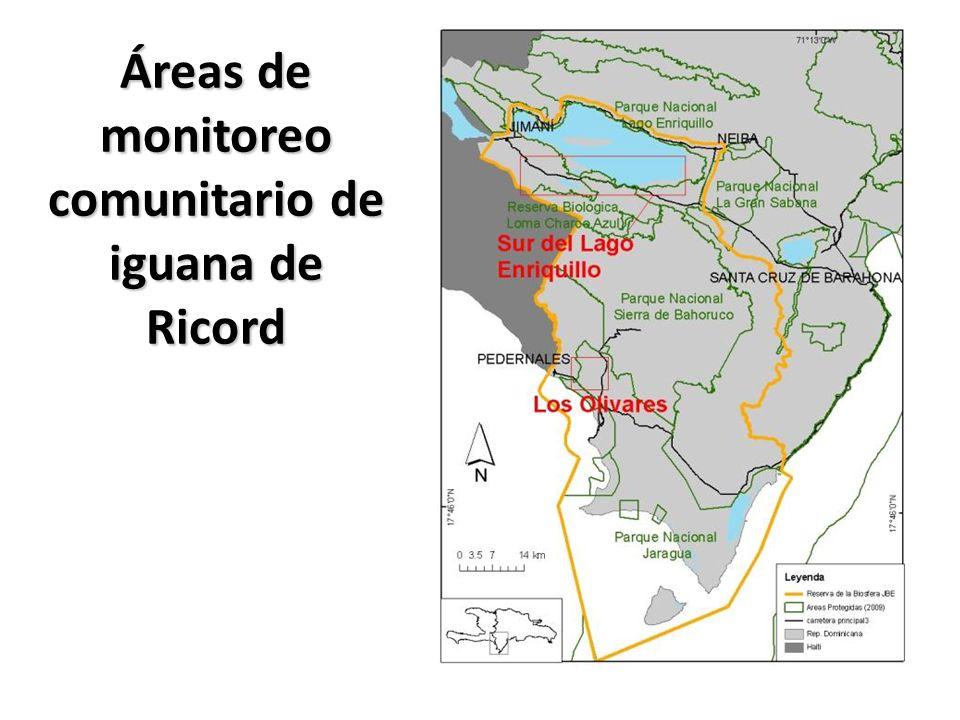Áreas de monitoreo comunitario de iguana de Ricord