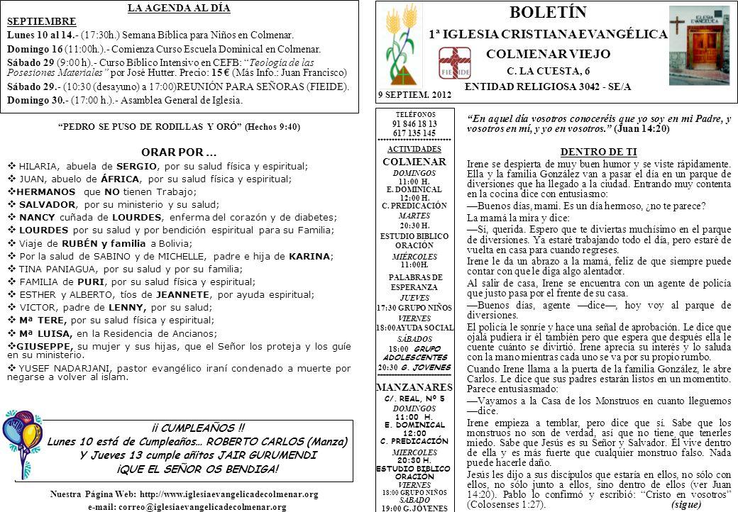 BOLETÍN 1ª IGLESIA CRISTIANA EVANGÉLICA COLMENAR VIEJO
