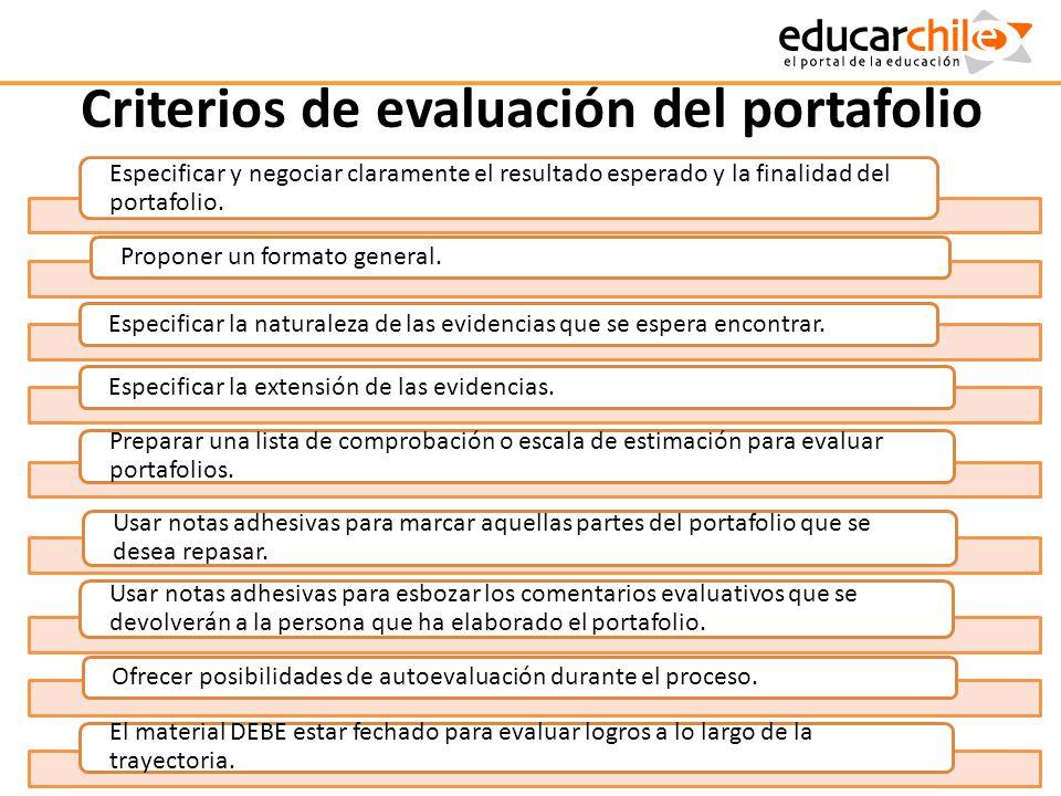 Criterios de evaluación del portafolio