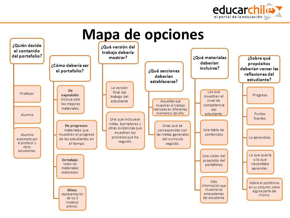 Mapa de opciones ¿Quién decide el contenido del portafolio