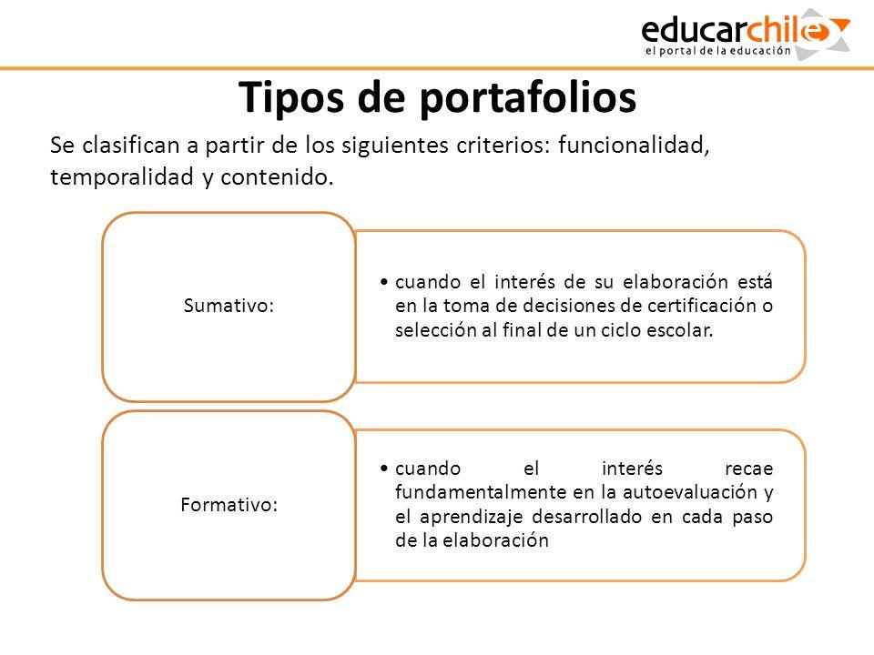 Tipos de portafolios Se clasifican a partir de los siguientes criterios: funcionalidad, temporalidad y contenido.
