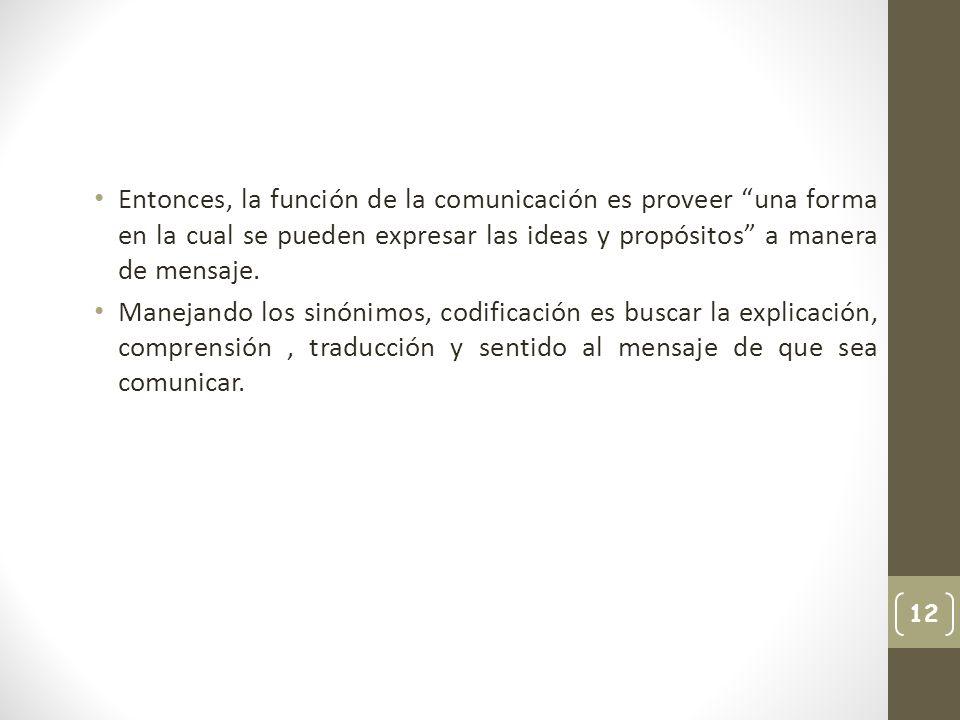 Entonces, la función de la comunicación es proveer una forma en la cual se pueden expresar las ideas y propósitos a manera de mensaje.