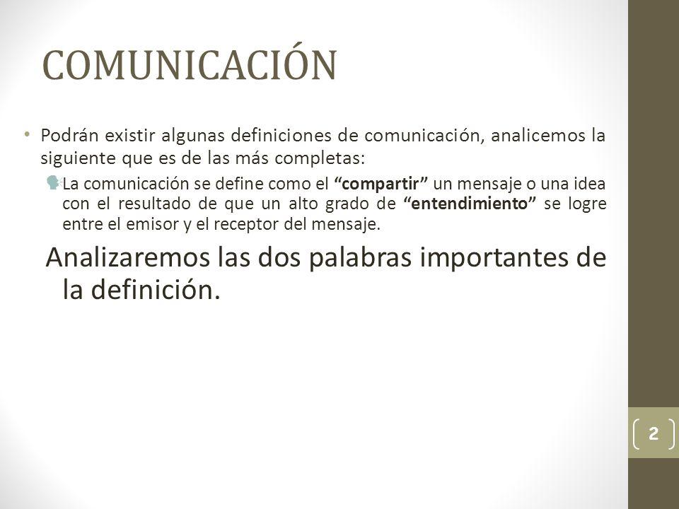 COMUNICACIÓN Podrán existir algunas definiciones de comunicación, analicemos la siguiente que es de las más completas: