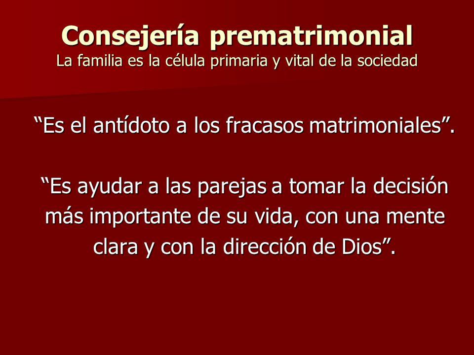 Consejería prematrimonial La familia es la célula primaria y vital de la sociedad