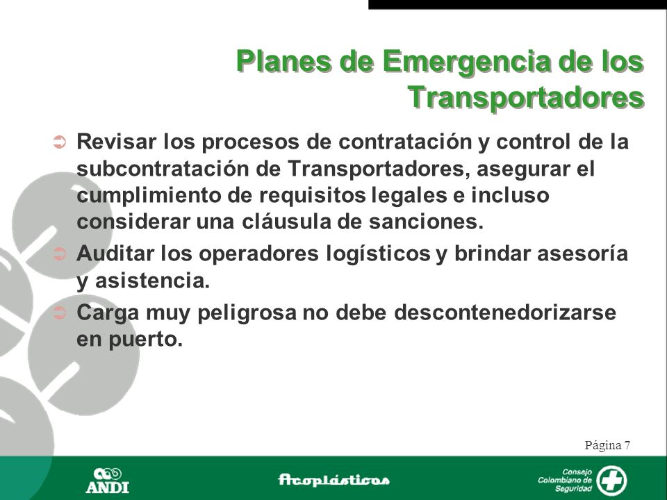 Planes de Emergencia de los Transportadores
