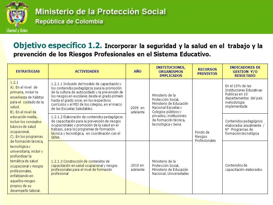 Objetivo específico 1.2. Incorporar la seguridad y la salud en el trabajo y la prevención de los Riesgos Profesionales en el Sistema Educativo.