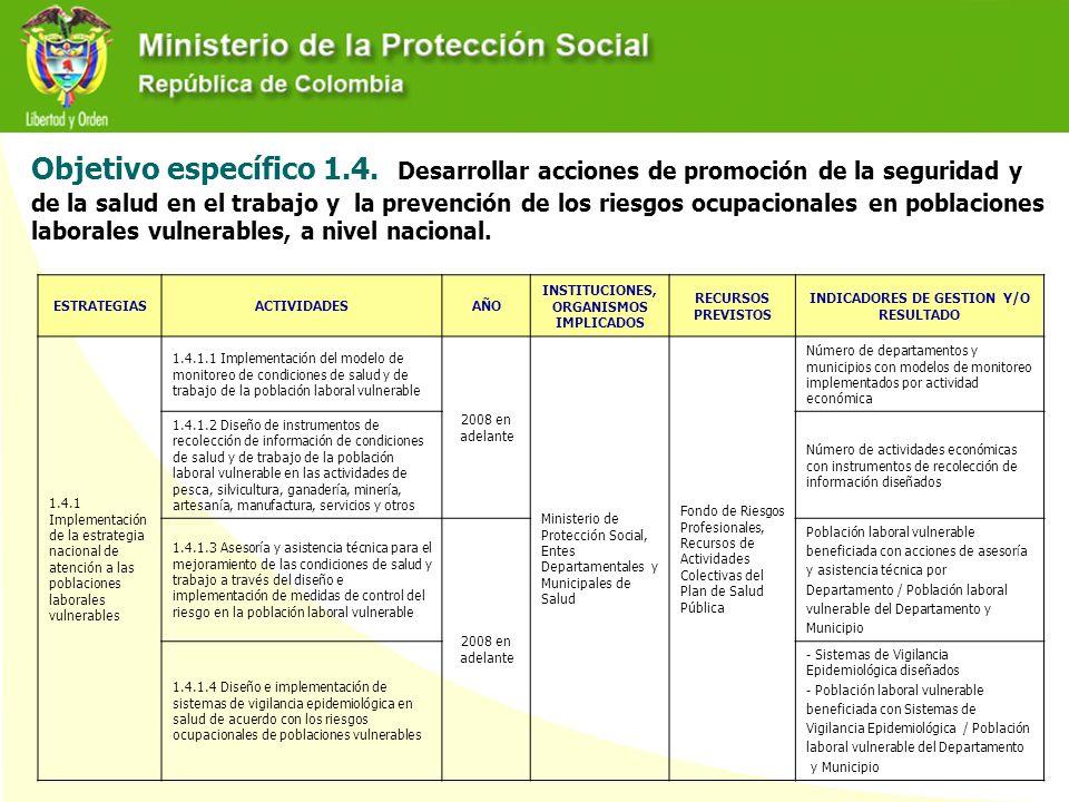 Objetivo específico 1.4. Desarrollar acciones de promoción de la seguridad y de la salud en el trabajo y la prevención de los riesgos ocupacionales en poblaciones laborales vulnerables, a nivel nacional.