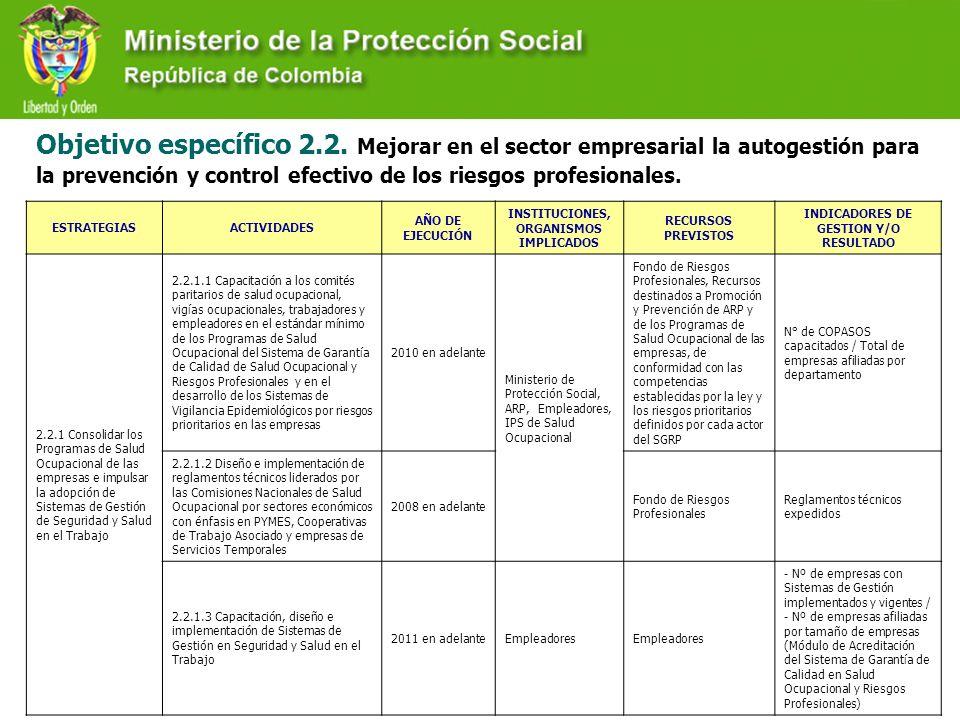 Objetivo específico 2.2. Mejorar en el sector empresarial la autogestión para la prevención y control efectivo de los riesgos profesionales.