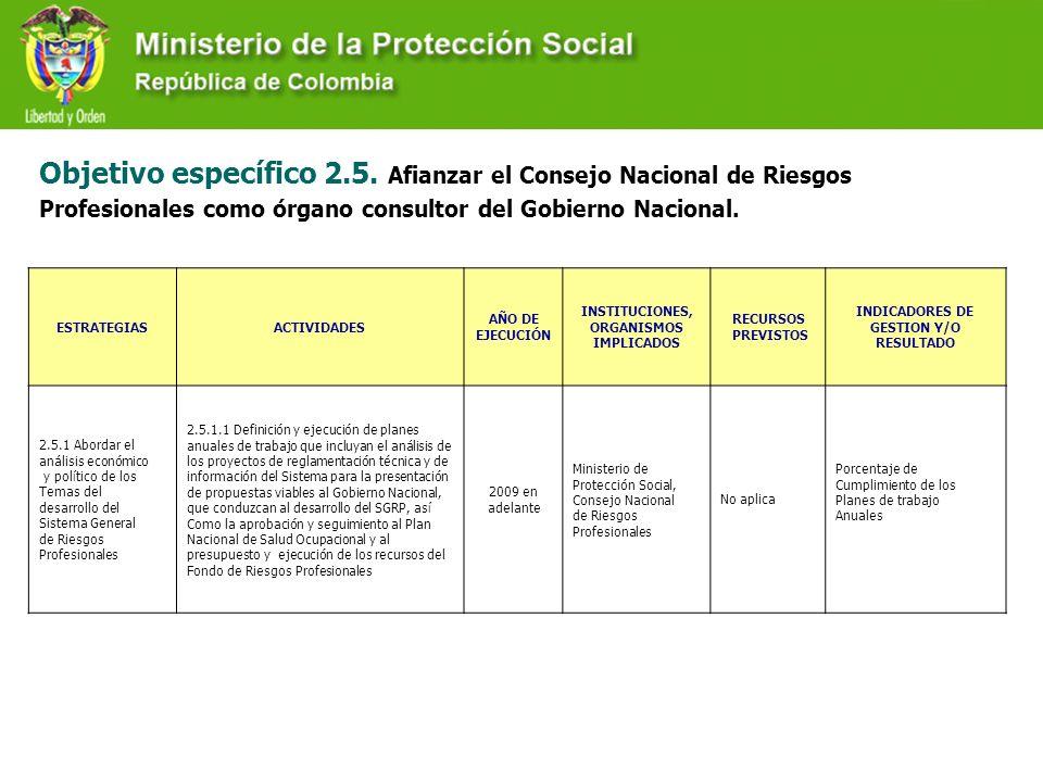 Objetivo específico 2.5. Afianzar el Consejo Nacional de Riesgos Profesionales como órgano consultor del Gobierno Nacional.