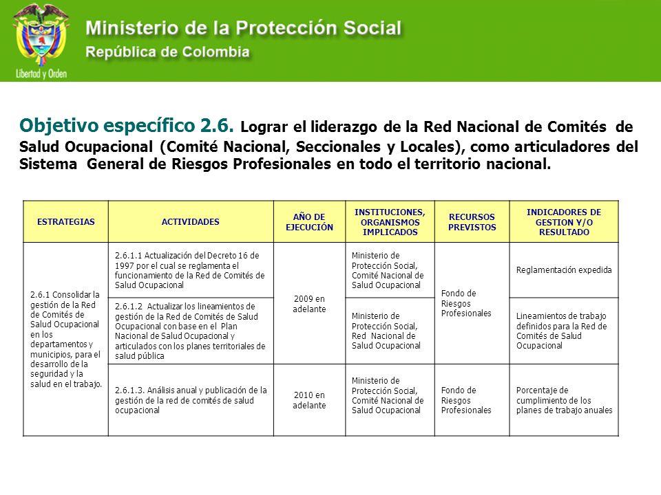 Objetivo específico 2.6. Lograr el liderazgo de la Red Nacional de Comités de Salud Ocupacional (Comité Nacional, Seccionales y Locales), como articuladores del Sistema General de Riesgos Profesionales en todo el territorio nacional.