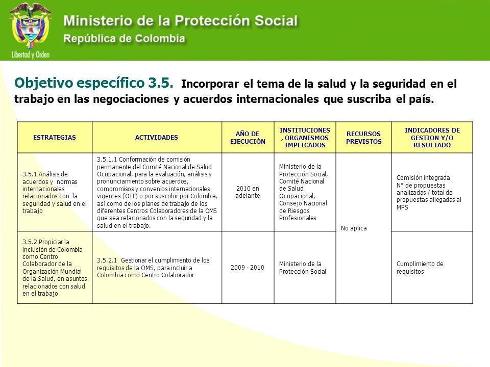 Objetivo específico 3.5. Incorporar el tema de la salud y la seguridad en el trabajo en las negociaciones y acuerdos internacionales que suscriba el país.