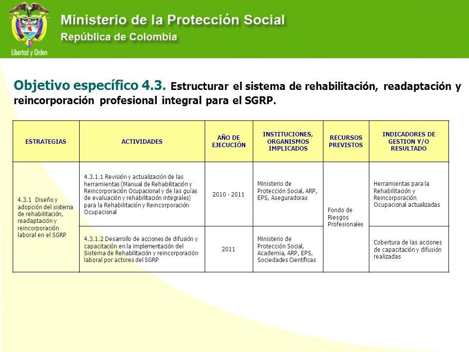 Objetivo específico 4.3. Estructurar el sistema de rehabilitación, readaptación y reincorporación profesional integral para el SGRP.