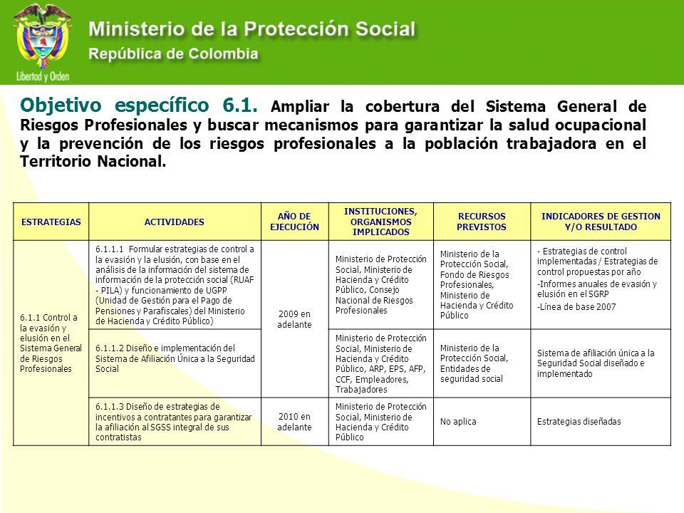 Objetivo específico 6.1. Ampliar la cobertura del Sistema General de Riesgos Profesionales y buscar mecanismos para garantizar la salud ocupacional y la prevención de los riesgos profesionales a la población trabajadora en el Territorio Nacional.
