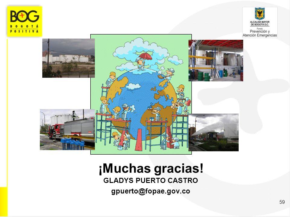¡Muchas gracias! GLADYS PUERTO CASTRO gpuerto@fopae.gov.co 59