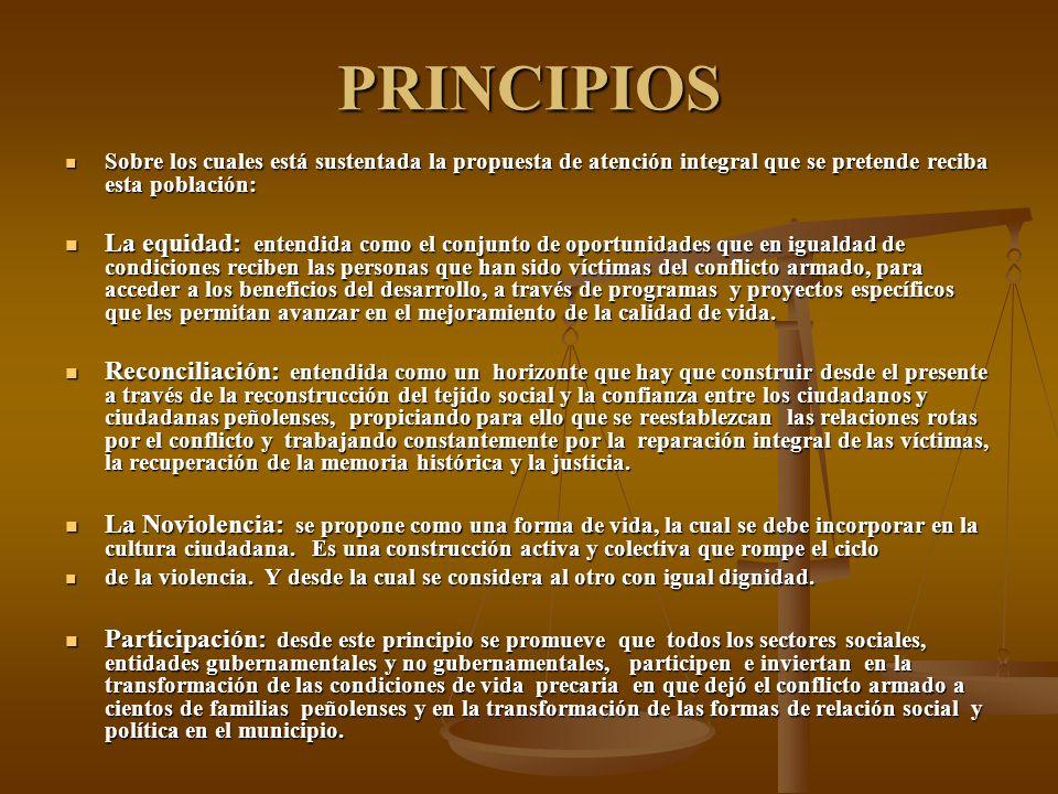 PRINCIPIOS Sobre los cuales está sustentada la propuesta de atención integral que se pretende reciba esta población: