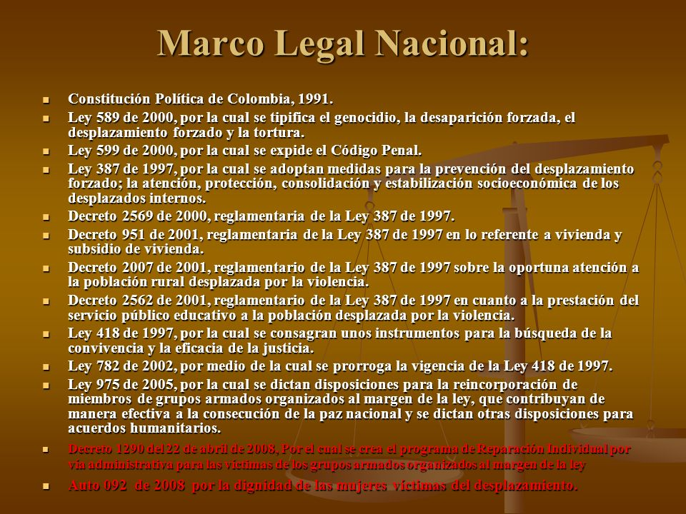 Marco Legal Nacional: Constitución Política de Colombia, 1991.