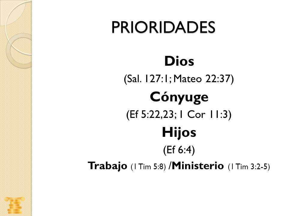 Trabajo (1 Tim 5:8) /Ministerio (1 Tim 3:2-5)