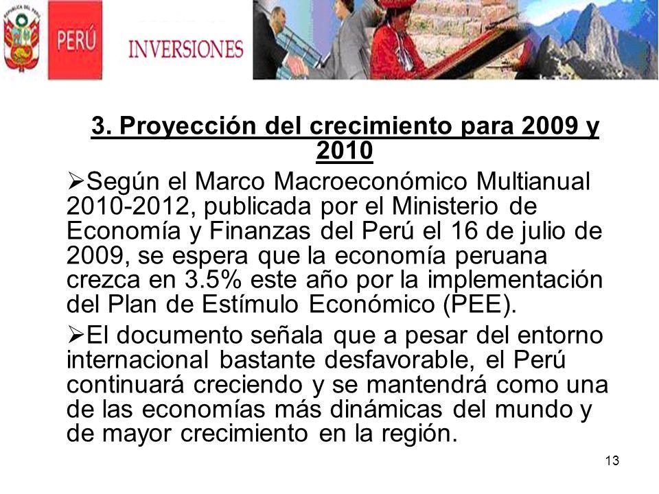 3. Proyección del crecimiento para 2009 y 2010