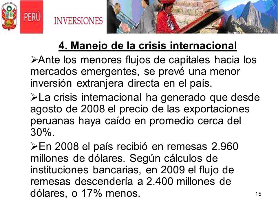 4. Manejo de la crisis internacional