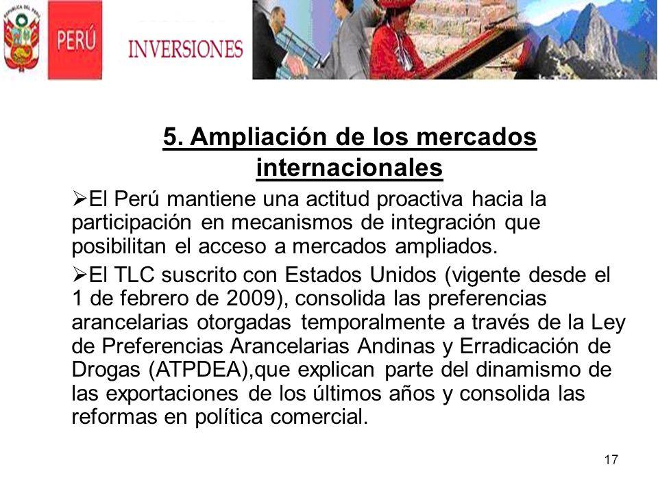 5. Ampliación de los mercados internacionales