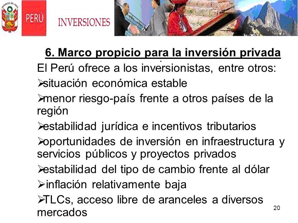 6. Marco propicio para la inversión privada