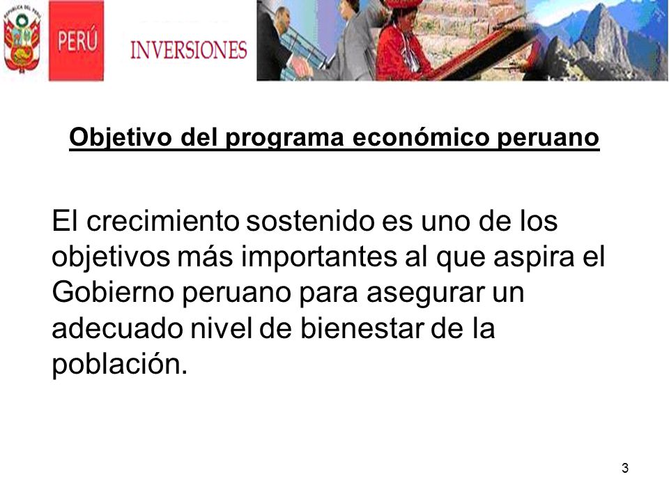 Objetivo del programa económico peruano