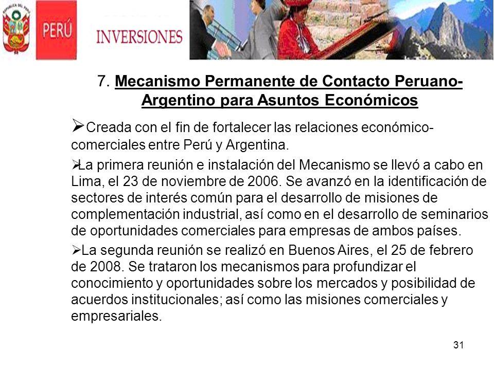 7. Mecanismo Permanente de Contacto Peruano-Argentino para Asuntos Económicos
