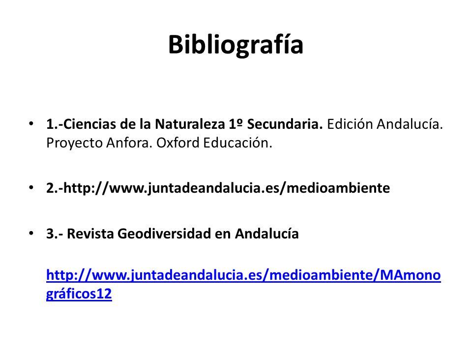 Bibliografía 1.-Ciencias de la Naturaleza 1º Secundaria. Edición Andalucía. Proyecto Anfora. Oxford Educación.
