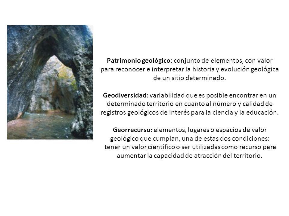 Patrimonio geológico: conjunto de elementos, con valor para reconocer e interpretar la historia y evolución geológica de un sitio determinado.