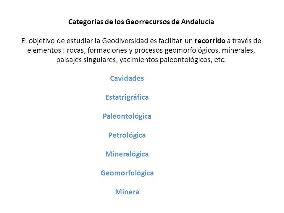Categorías de los Georrecursos de Andalucía El objetivo de estudiar la Geodiversidad es facilitar un recorrido a través de elementos : rocas, formaciones y procesos geomorfológicos, minerales, paisajes singulares, yacimientos paleontológicos, etc.