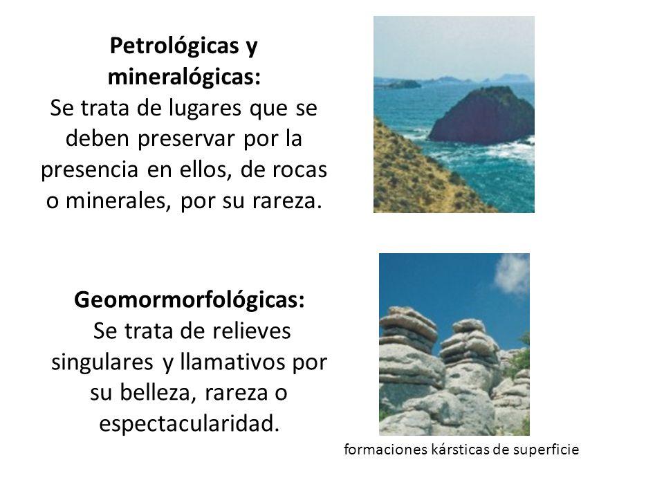 Petrológicas y mineralógicas: Se trata de lugares que se deben preservar por la presencia en ellos, de rocas o minerales, por su rareza.