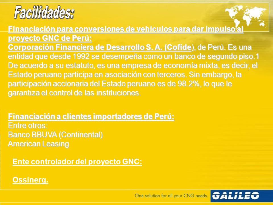 Facilidades: Financiación para conversiones de vehículos para dar impulso al proyecto GNC de Perú: