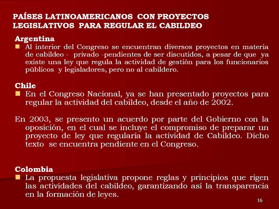 PAÍSES LATINOAMERICANOS CON PROYECTOS LEGISLATIVOS PARA REGULAR EL CABILDEO
