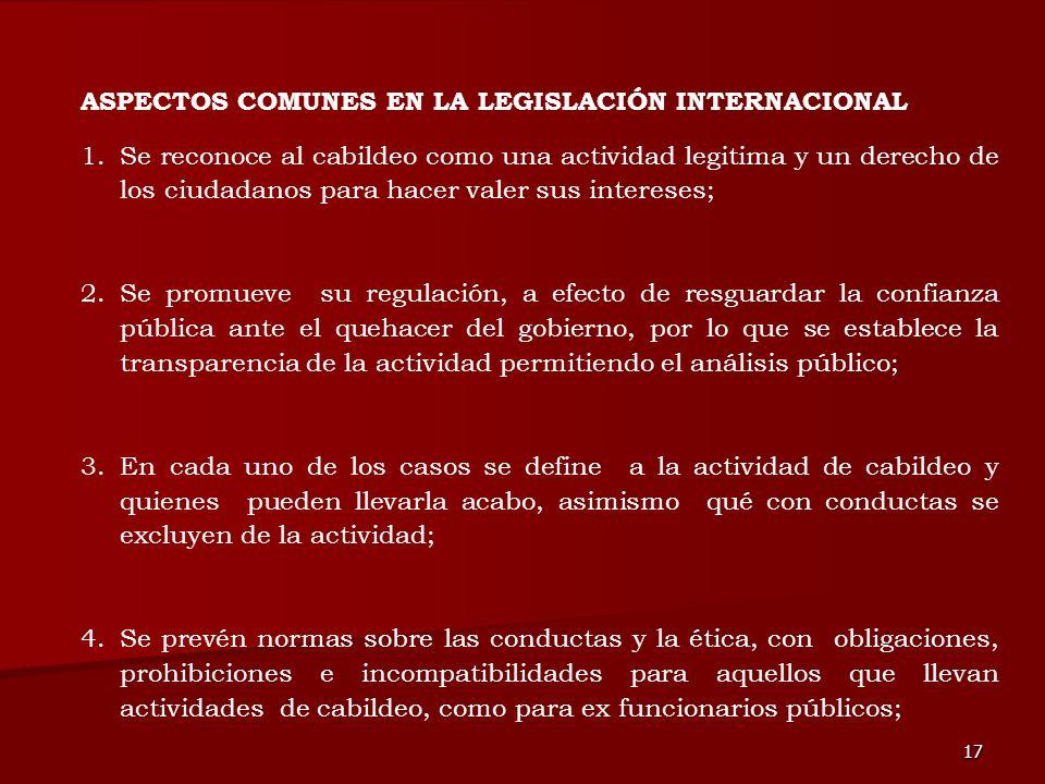 ASPECTOS COMUNES EN LA LEGISLACIÓN INTERNACIONAL