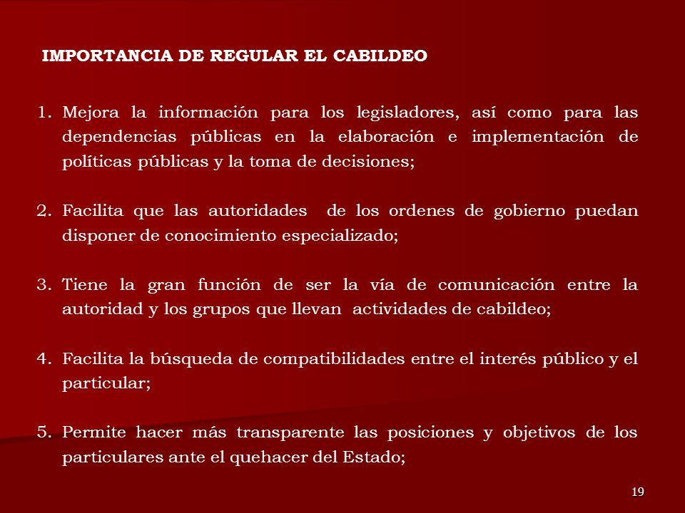 IMPORTANCIA DE REGULAR EL CABILDEO