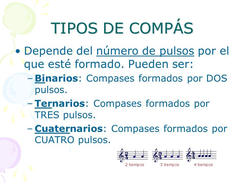 TIPOS DE COMPÁSDepende del número de pulsos por el que esté formado. Pueden ser: Binarios: Compases formados por DOS pulsos.